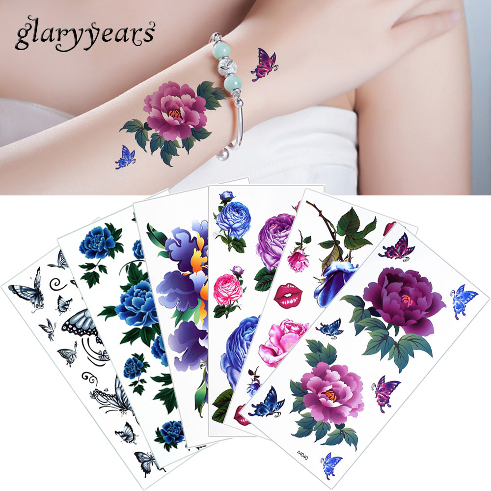 Glaryyears 1 Sheet Temporary Colored Drawing Flowers Tattoo