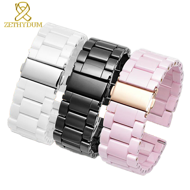 Ceramic Watchband 22mm Watch Band For Huawei Honor Dream Magic Ticwatch Watch Sports Smart Watch Band Pink Color Bracelet