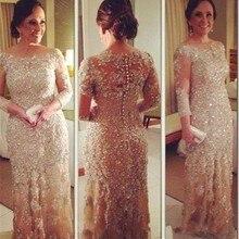 weddings lace beaded women party dress new fashion Half sleeve appliques elegant