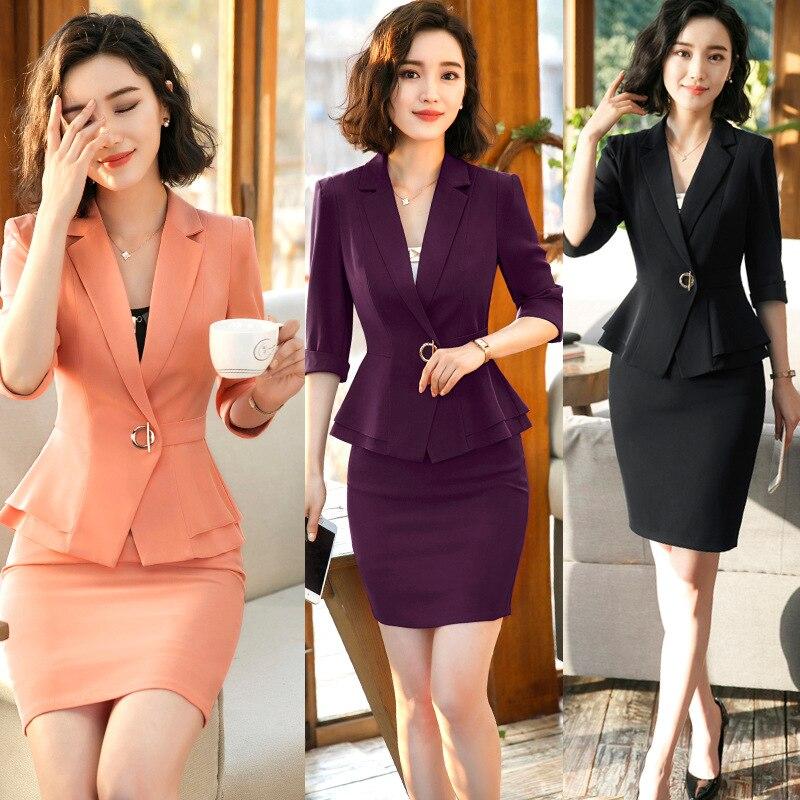 IZICFLY Summer Clothes For Women Formal Uniform Designs Blazer Set Lady Office Elegant Business 2 Pieces Skirt Suit Plus Size