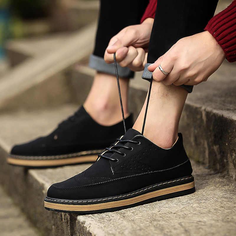 Ingiliz retro Bullock oyma erkek ayakkabıları ilkbahar ve yaz trendi rahat deri ayakkabı erkekler rahat ayakkabılar düşük üst spor salonu ayakkabısı
