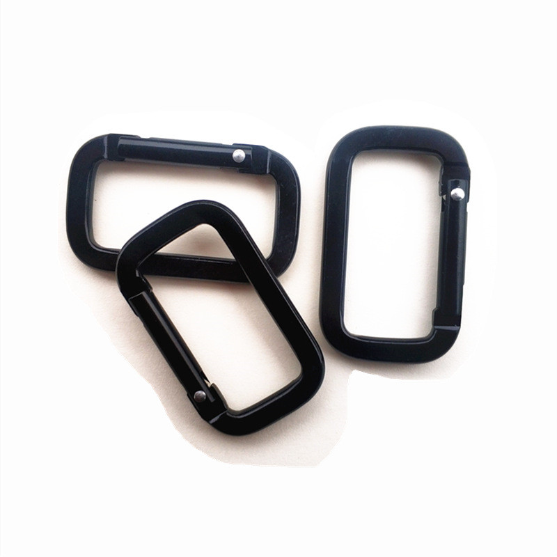 4PCS Multi-function Safety Buckle Camping Carabiner Black Square Fast Hang BuckleKey  Backpack Pendant Mini Buckle Outdoor Tool