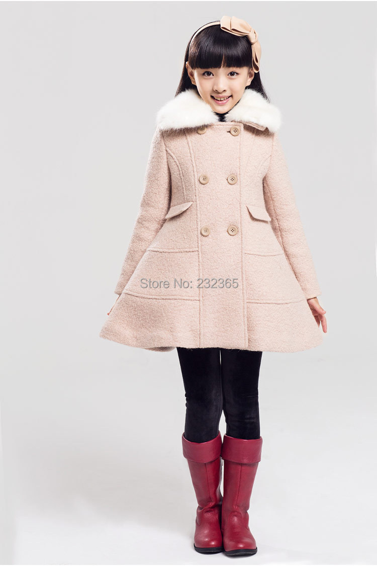 Winter new children thick outerwear girls double breasted wool