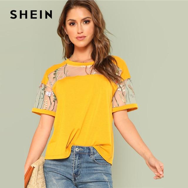 Шеин желтый Floral Embroidered Mesh Yoke Top Для женщин шею короткий рукав эластичный Топ Футболка 2018 Новые Летние Повседневная футболка