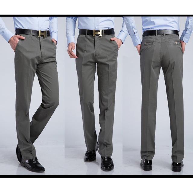 Más el Tamaño 29-40 de 6 Colores de Los Hombres Finos de Verano Transpirable Pantalones de Algodón Gris Casual de Negocios Para El Padre Abuelo Pantalones formales