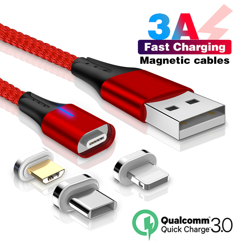 Magnetic USB Cable Type C 3A Typec Fast Charging QC 3.0 for Huawei Nova 2 3 4 P30 P20 Samsung S9 S8 Phone Converter Cables