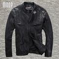Capa de la chaqueta de los hombres negro de cuero genuino 100% de piel de cordero de la motocicleta chaquetas chaqueta de moto hombre veste cuir homme cappotto lt976