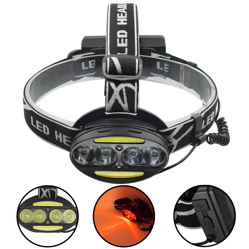8000LM USB Rechargeable Head Lamp Torch XML T6 COB LED White Red Light Headlamp Frontal LED Running Headlight USB Cable by 18650 30w led cob usb rechargeable 18650 cob led headlamp headlight fishing torch flashlight