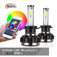 OKEEN H4 H7 LED Bulbs RGB LED Headlight APP Bluetooth Control H1 H3 H8 H11 HB3