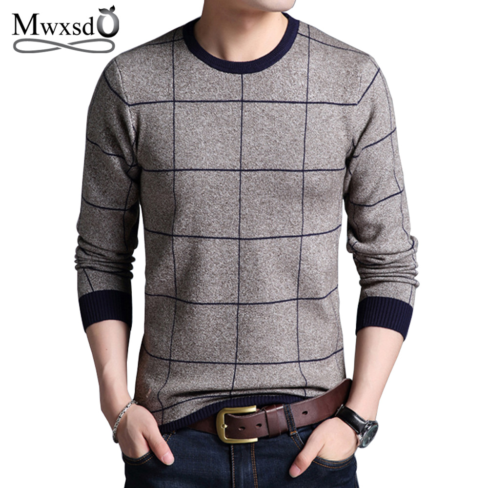 Mwxsd Men'S Autumn Winter Striped Plaid Pullover Sweaters Patchwork Knitted Sweater For Men O-Neck Casual Male Sweater