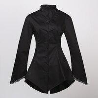 Fit Novelty Bell Sleeve Lace Jacket Dark Black Color Party Unique Dresses Alternative Design Fashion Shopping