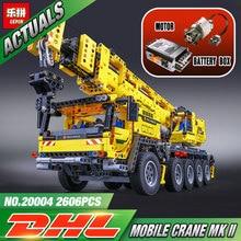 LEPIN 20004 2606Pcs Technic Motor Power Mobile Crane Mk II Model Building Kits Blocks Bricks Christmas