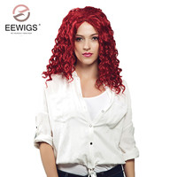 Synthetic Lace Front Wig Long Red Curly Burgundy Wigs Full Hair Wigs With Side Parting for Daily Use Glueless Fiber 20inches