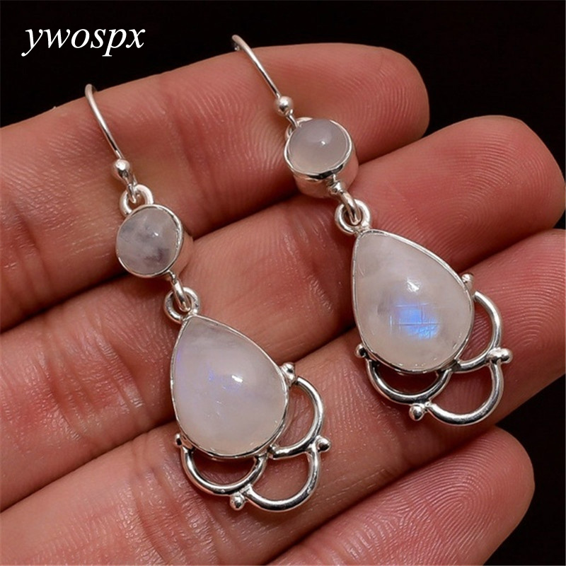 YWOSPX Elegant Imitation Moonstone Brincos Silver Color Dangle Earrings for Women Jewelry Wedding Statement Earrings Gifts Y30