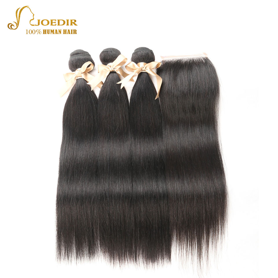 Joedir Indian Straight Hair 3 Bundles With 4*4 Lace Frontal Human Hair bundles with Closure 8 To 26 Inch Natural Hair
