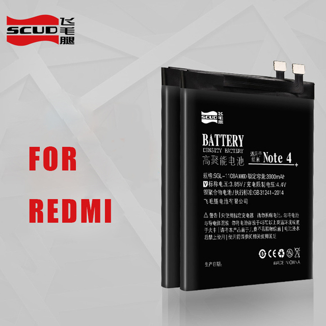 For Xiaomi Redmi Note4 battery new for hongmi redmi note 4 battery replacement 3900mAh OEM SCUD lithium for XIAOMI batteries
