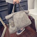 2016  Rivet Women handbag Frosted Women messenger Crossbody bag Large capacity women tote Shoulder bag Ladies Tassel Bag,DJ7082