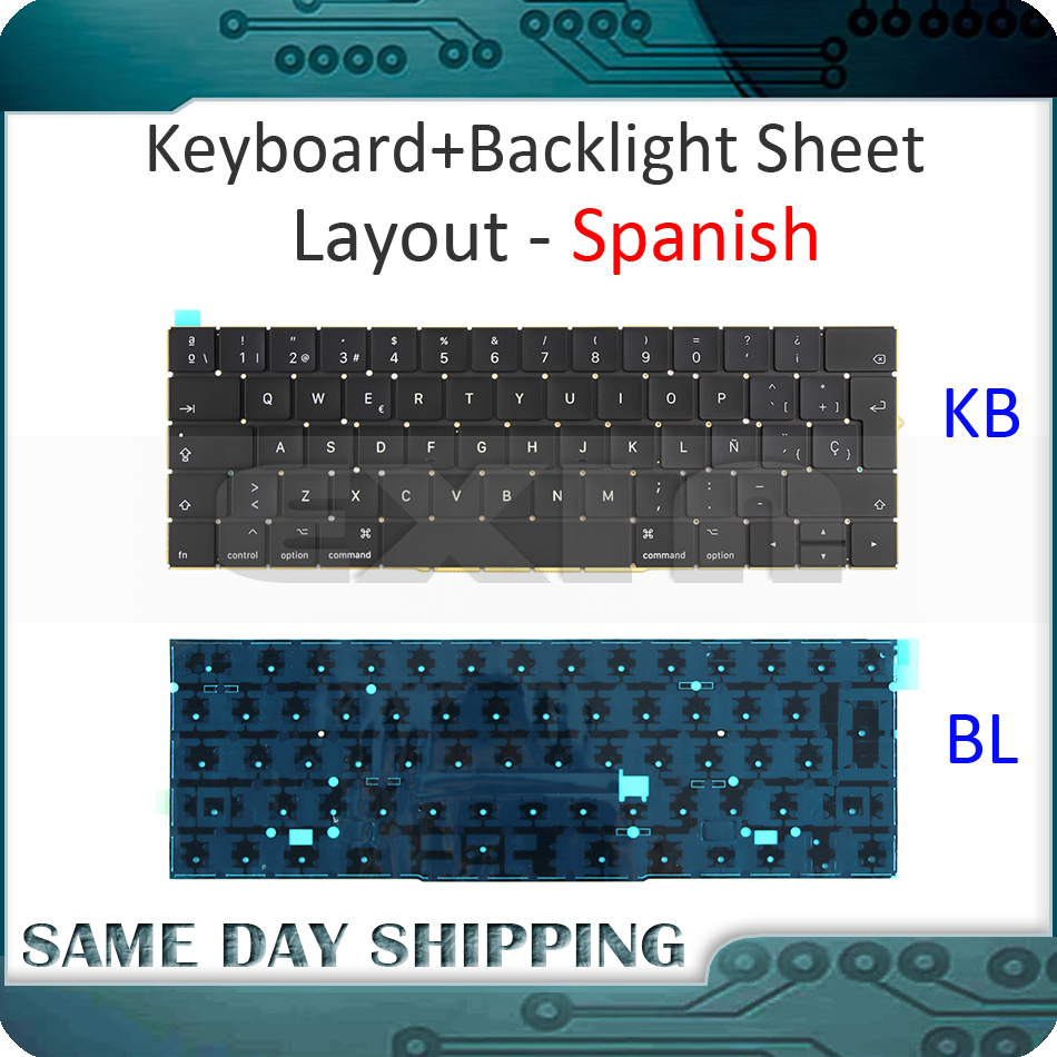 New for Macbook Pro Retina 15'' A1707 Spanish Spain Sp Keyboard w/ Backlight Backlit EMC3072 EMC3162 Late 2016 Mid 2017 Year цена