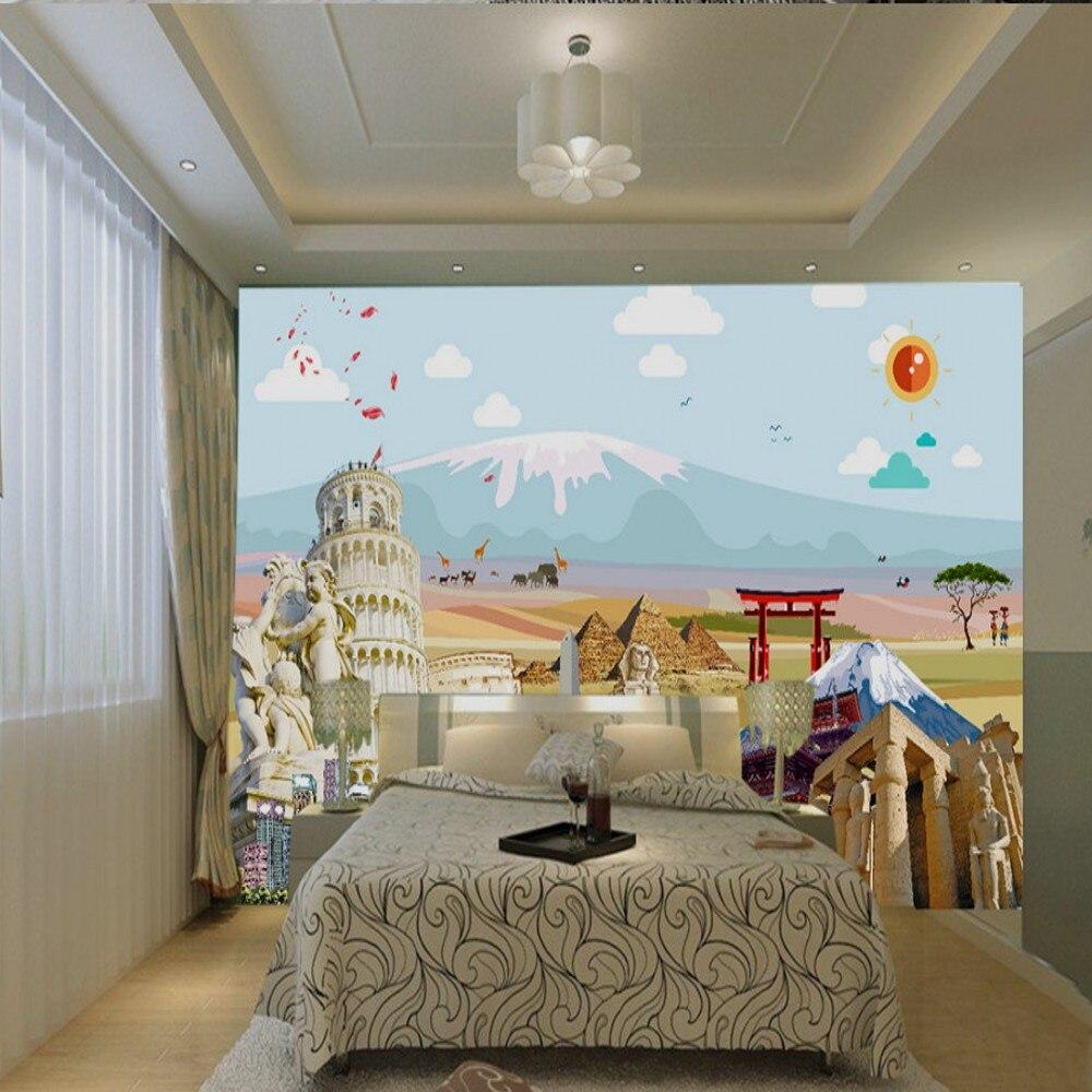 Free Shipping Custom HD Travel Agency Wall Decoration Wallpaper Custom Wall Mural Interior 3d Wallpaper Living Room 3d Wallpaper
