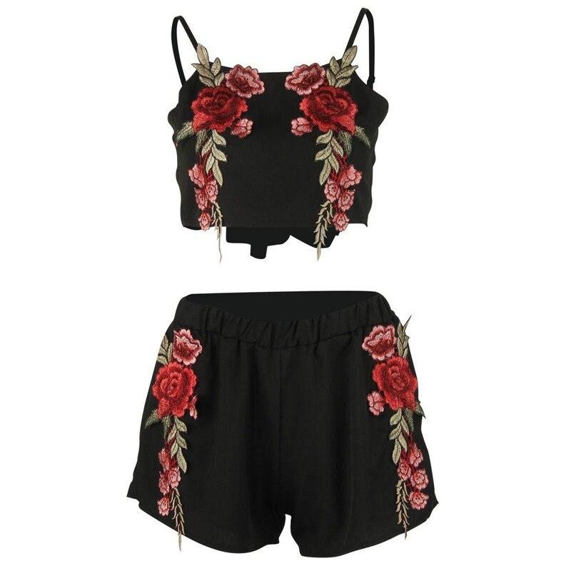 2017 Neue Stickerei Floral Overall 2 Stücke Set Sexy Sleeveless Strap Crop Tops Chiffon Overall Shorts Frauen Strampler