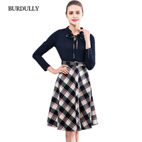 BURDULLY European Style Women Office Knitted Dress Long Sleeve Elegant Ladies 2018 Spring Patchwork Plaid Dress