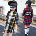 Niñas camisa de algodón 2016 nuevo otoño de los niños camisa de cuadros niño carta a medio-largo camisa niño básico camisetas bebé infantil ropa, 3-14Y