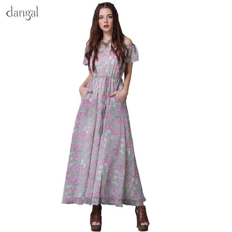 6148231daa2 New Floral Cou Soie Dangal 2018 Slash ligne Robe De A Courtes Élégant  Manches Femmes Robes À Blanc Mousseline En longueur ...