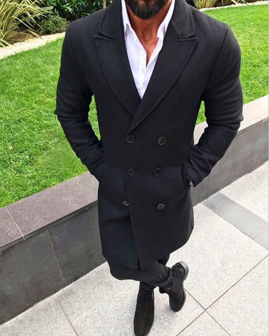 Mens Long Coats New Fashion Men Winter Warm Blends Coat Lapel Outwear Overcoat Long Jacket Peacoat