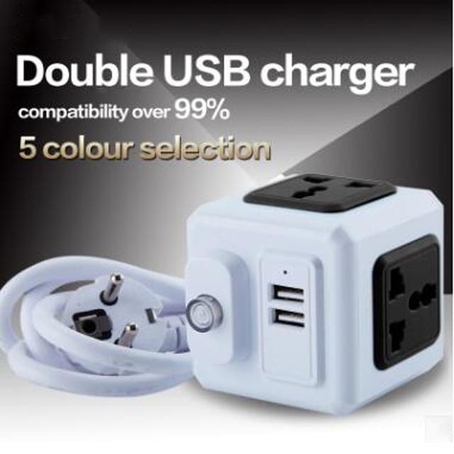 Smart Home PowerCube Socket EU / US / UK Plug 4 Socket 2 USB Port Adapter Power Outer Extension Adapter Universa 4 Jack Socket