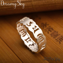 Luxury Jewelry Trendy 925 Sterling Silver Letter Antique Rings For Women Ladies Large Adjustable Size Ring Joyas De Plata(China)