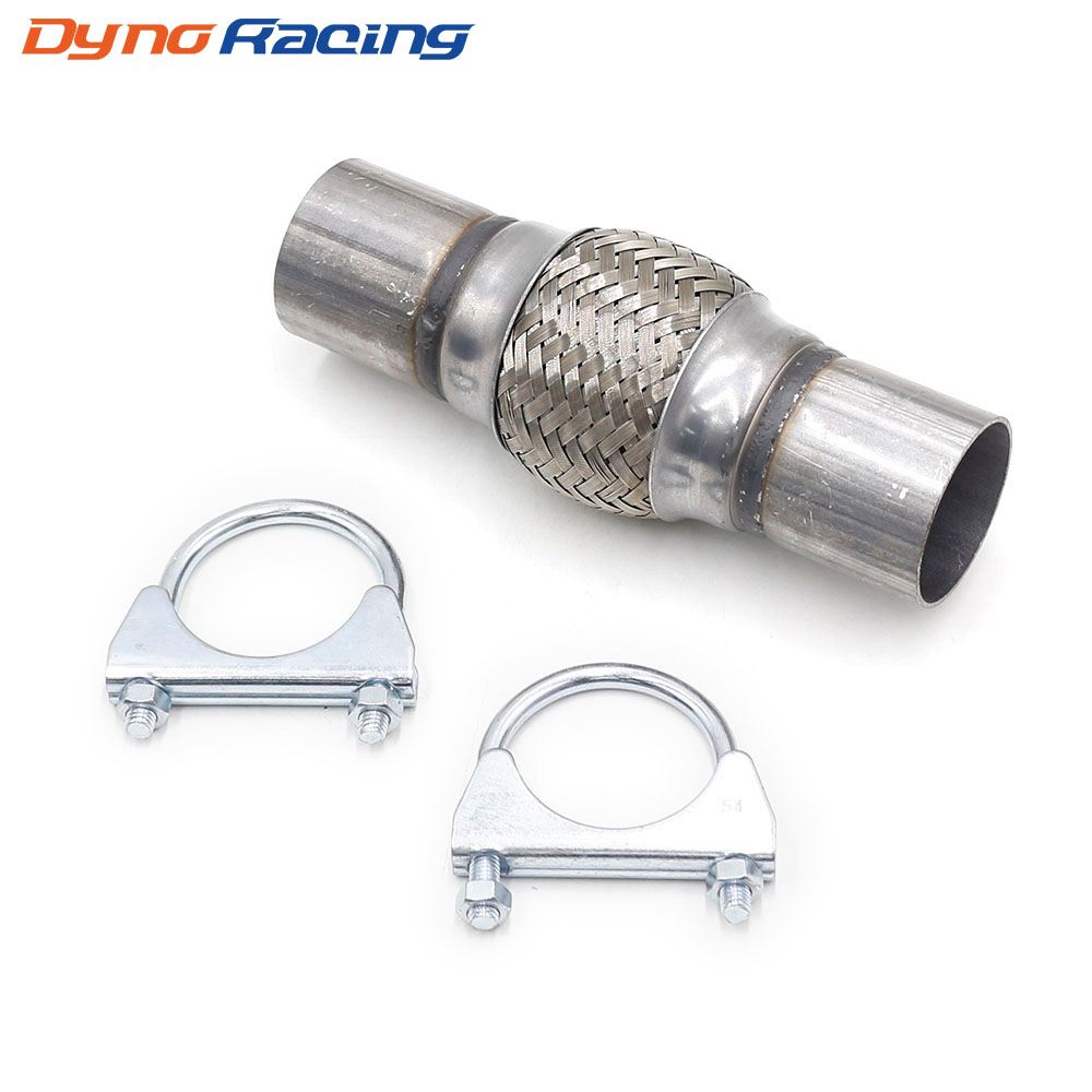 "2"" x 4'' x 8"" Car Exhaust Flex Pipe Bellows 201 Stainless Steel Double Braid Connector Ripple Sliver YC101189"