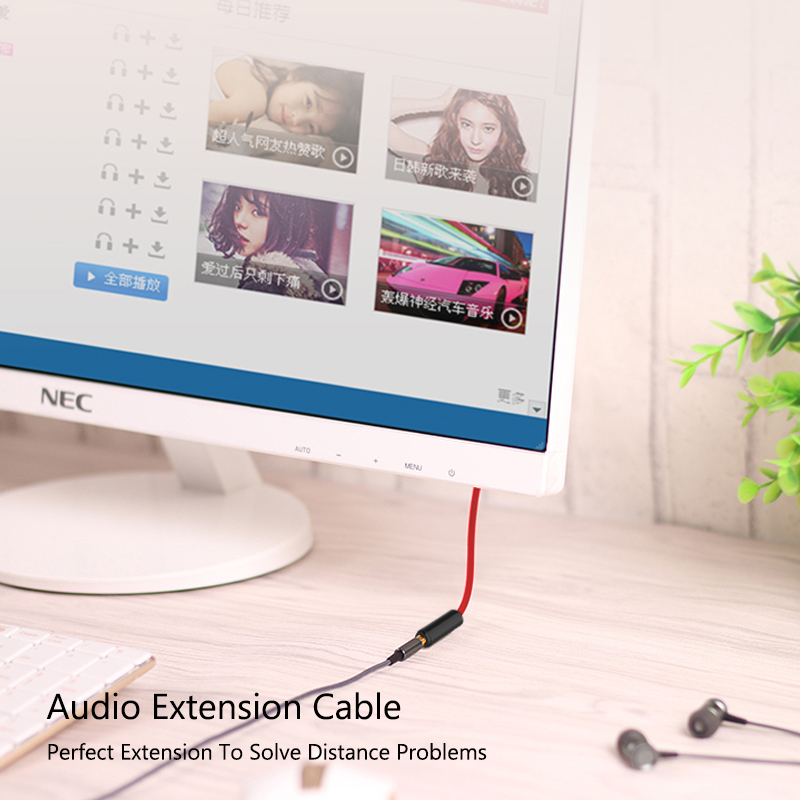JianHan Audio Extension Cable 3 5mm Male to Female Stereo Aux Audio Extension Nylon Braided Cable for PC Headphone