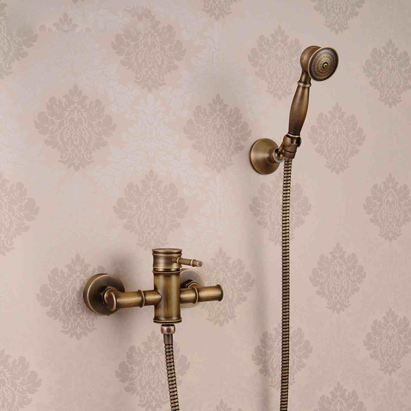 Antique Brass Wall Mounted Shower Faucet for Bathroom Single Handle with Brass Hand Shower цена