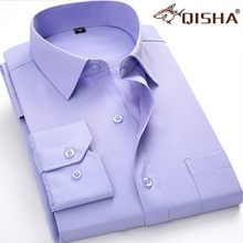 2017 Male dress shirt long sleeve Brand Clothing Business men shirts High Quality Fashion Plus Size M-5XL tabby twill Solid