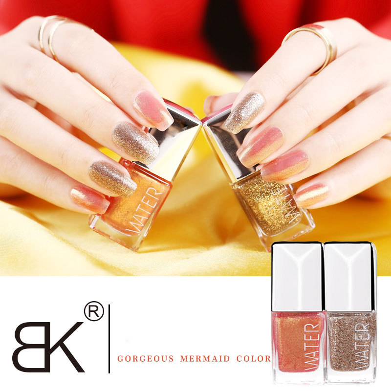 Three Free Nail Polish Brands List: BK Brand Safe Shining Mermaid Shimmer Gold Color Nail