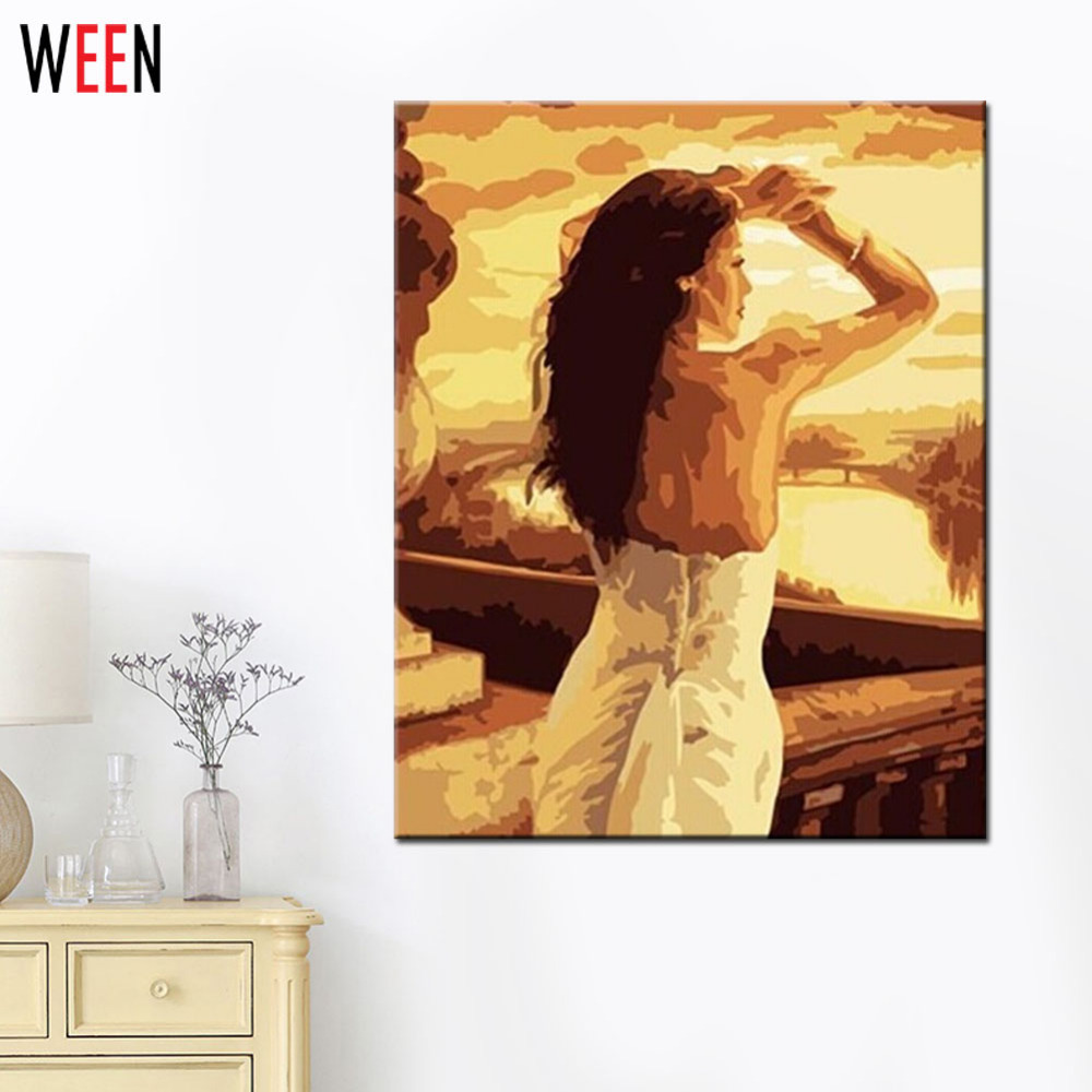 Sexy Women Wall Canvas Art Painting By numbers For Living Room Frameless DIY Handpainted Oil Painting Coloring By Numbers Cheap in Painting Calligraphy from Home Garden