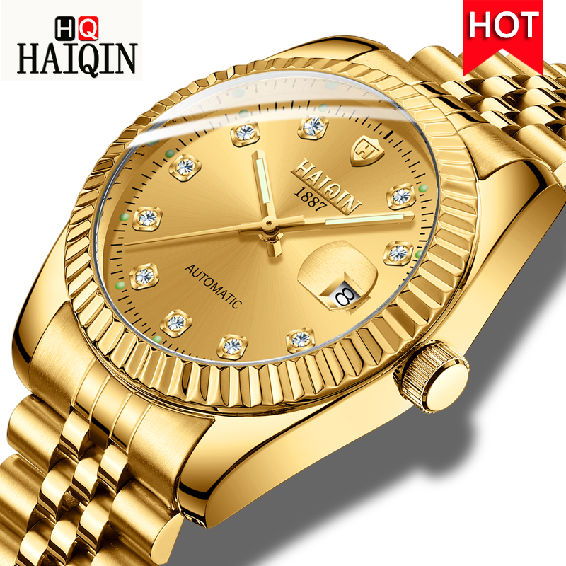 HAIQIN Automatic Mechanical Watch Top Brand Luxury Men Calendar Wristwatch Waterproof Stainless Steel Watch relogio masculino dom mens watches top brand luxury automatic mechanical watch hollow men s watch waterproof wristwatch relogio masculino