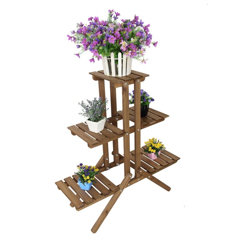 Multilayer Padat Kayu Pot Bunga Bingkai Lantai Balkon