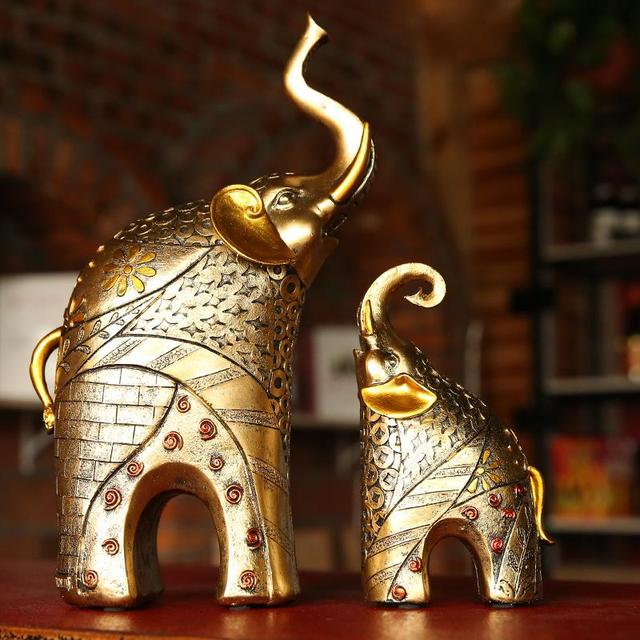 Elephant Decoration European Statue Animal Ornaments Home Decor Lucky Living Room Cabinets Wedding Gifts