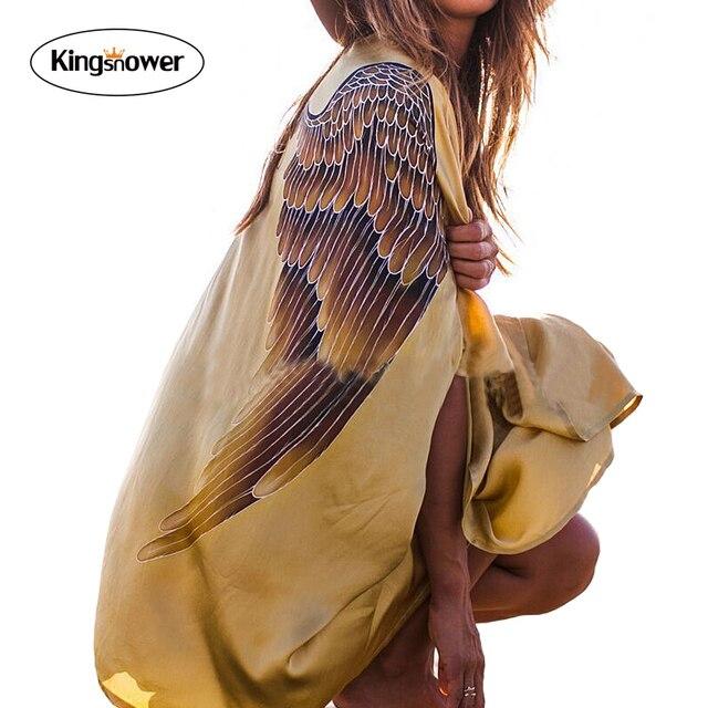 2017 Новый Мода Лето женская Обертывания Sexy Свободные Крылья Печати Золото Блузка Неравные Пляж Рубашки Солнцезащитный Крем Одежда JA9001