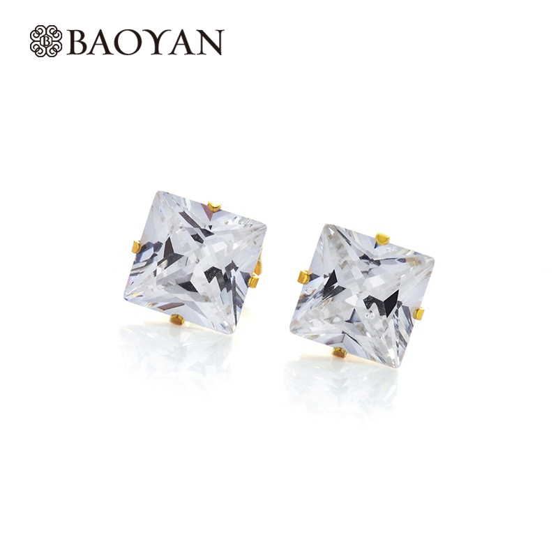Wholesale Square Zircon Crystal For Stud Women Earring Stainless Steel Gold Color Fashion Jewelry Earring Set A5