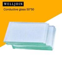50x50x1.1mm <7 ohm/sq  50 pces laboratório de vidro condutor transparente óxido de estanho de índio ito vidro revestido|indium tin oxide|conductive glass|indium oxide -
