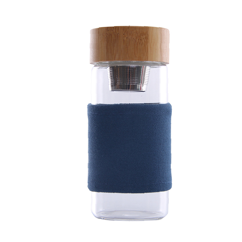 400ml Portable Glass Water Bottle With Bamboo Lid 1