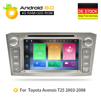 4G RAM Android 8.0Car DVD Stereo Multimedia Headunit For Toyota Avensis/T25 2003 2008 Auto Radio GPS Navigation Video Audio