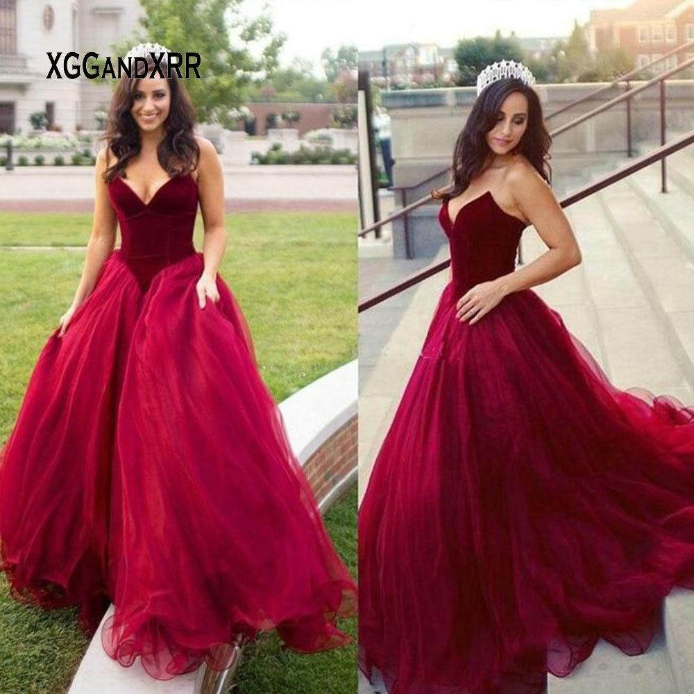 Princess Burgundy Tulle Evening Dresses 2019 Sweetheart off Shoulder Formal Party Dress Evening Gown vestido de festa Plus Size