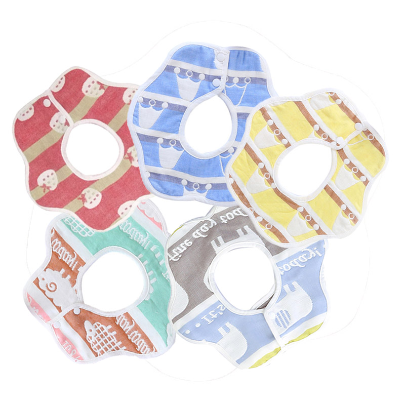 Infant Baby Bib Gauze Cotton Child 360 Degree Rotated Cartoon Children Baby Saliva Towel Cotton Bib V5