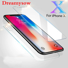 9H HD Premium Front + Back= 2PCs Tempered Glass For iphone X 8 Plus 6 6s 7 7 Plus 5 5S 4 4S Screen Protector Film For iphone X