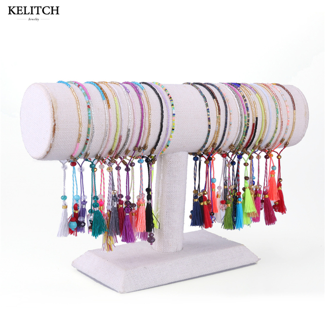 KELITCH 10Pcs Multicolor tassel Seed Beaded Bracelets Handmade Friendship Bracel