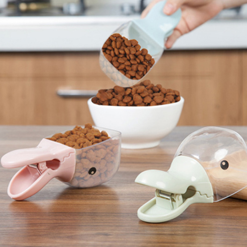 Multifunction Durable Duck Mouth Shaped Plastic Measuring Cup Feeding Spoon Clip Cat Dog Food Feeding Scoop Spoon Pet Supplies