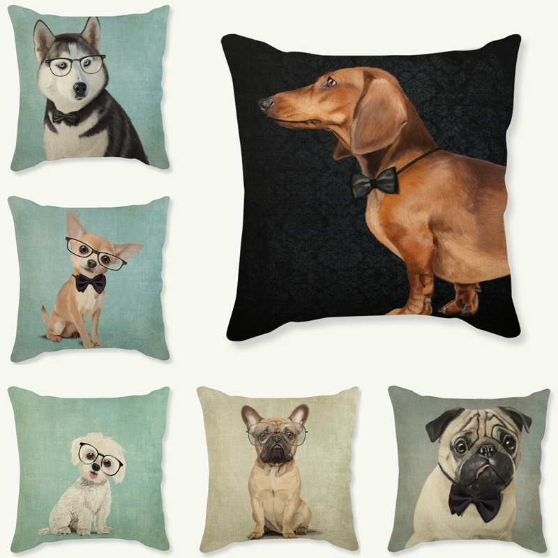 2018 Nordic Animal Lovely Bulldog Cushion Cover Noble Dachshund Decoration Painted Dog Puppy Pillow Case Scandinavia Covers